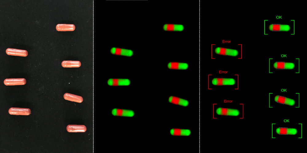 Chemical Colour Imaging and hyperspectral camera to detect not proper closed capsules