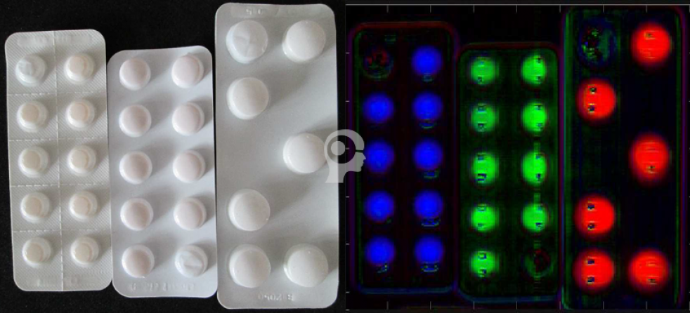 The Chemical Color Image above shows three different  drugs – Blue: Lercanidipin; Green: Eplerenon; Red: Roxithromycin. By this, the product can be checked for completeness or for wrong inserted pills. Using high resolved cameras it will become possible also to detect cracks or defects on the pills through the blister.